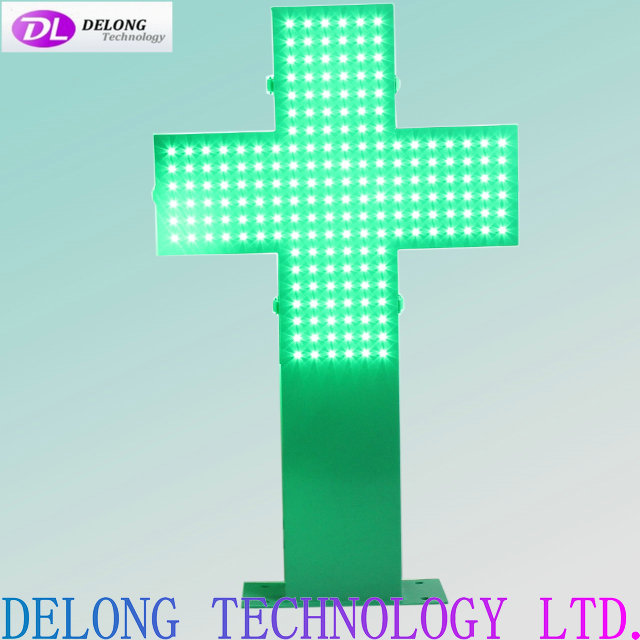 48x48cm Outdoor Double Sided Led Green Cross Sign Shenzhen Delong
